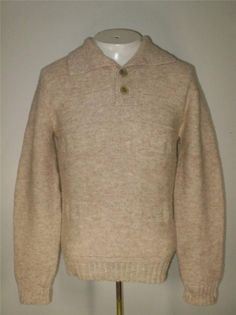 Mens Vintage Lord Clayton Collared Sweater Beige Shetland Wool Acrylic Blend S/M #LordClayton #Collared