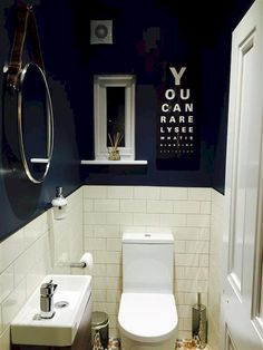 Space Saving Toilet Design for Small Bathroom - Home to Z Dark Blue Bathrooms, Space Saving Toilet, Small Bathroom, Blue Bathroom, Downstairs Cloakroom, Trendy Bathroom, Small Toilet Room, Toilet Design, Bathroom Design Small