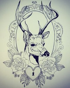 How I want the deer half way in the frame but I think this drawing of the deer isn't very good Cameo Tattoo, Stag Tattoo, Leg Tattoos, Flower Tattoos, Sleeve Tattoos, Tattoo Thigh, Pretty Tattoos, Beautiful Tattoos, Vintage Frame Tattoo