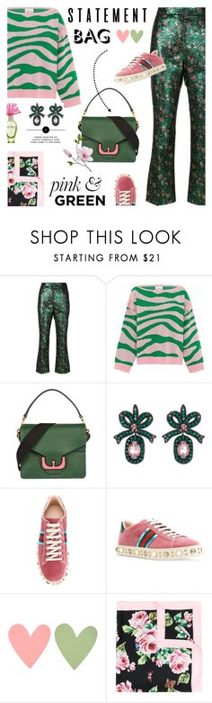 """Arm Candy: Statement Bags"" by lacas ❤ liked on Polyvore featuring Prada, Hayley Menzies, Marc Jacobs, Coccinelle, Gucci, Dolce&Gabbana, pinkandgreen and statementbags"