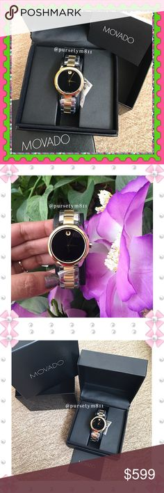 Authentic Movado Watch 💯AUTHENTIC💕 An elegant two-tone stainless steel design adds color and class to this Movado timepiece. The polished design features a dark black dial and signature Movado dot. Swiss made. Sapphire crystal. New with tag, booklet, inner & outer box. Classic and timeless watch from Movado. NO TRADE ❌ Movado Accessories Watches