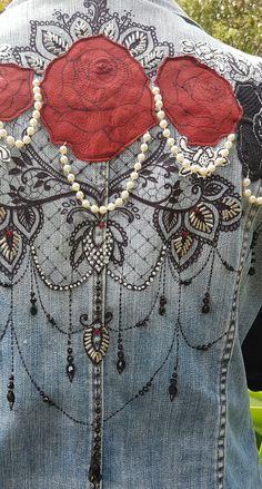 Incredible detail on this embellished festival denim jacket