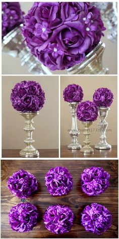 6 inch wide rose and pearl wedding pomander balls. plum purple wedding color decoration. $13 each. custom orders welcome. www.Psalm117.Etsy.com