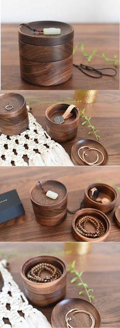 Black walnut Wooden Jewelry Organizer Box Caddy Stationery Office Desk Organizer Box Caddy