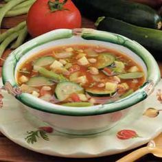 Summer Vegetable Soup Recipe---make sure gluten free broth & I used black beans and rotel for my tomato and lemon cucumber instead of zucchini