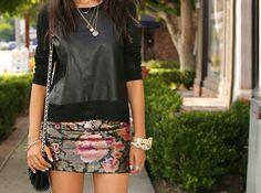 black leather & floral