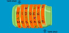Scytale Messages: clue leads to recycling. There they find cans, paper tubes & message strip.