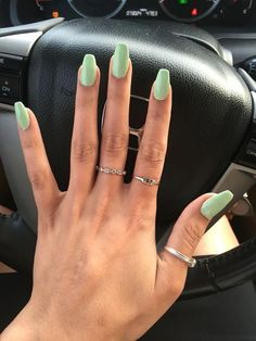 Mint Green Nails, Mint Nails, Aycrlic Nails, Cute Nails, Coffin Nails, Orange Nails, Pretty Nails, Summer Acrylic Nails, Best Acrylic Nails
