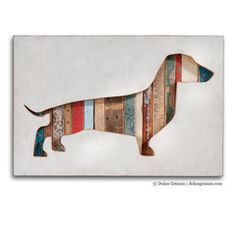 This cute dog artwork gives me the idea for some sliding doors over the front of a bookshelf....