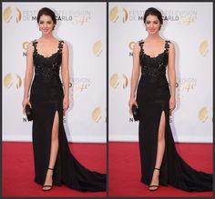 Celebrity Dresses 2015 'Reign' star Adelaide Kane Black Lace Apploques Sexy Side Splot Mermaid ...