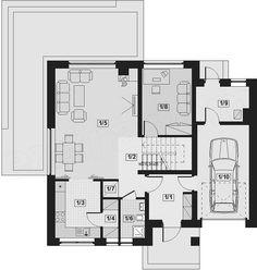 Rzut parteru projektu Noelia Modern Floor Plans, How To Plan, Home Decor, Homemade Modern, Projects, Interior Design, Home Interiors, Decoration Home, Floor Plan Drawing