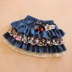 Retail children's denim skirt spring autumn girl's short skirt bust skir… – Style is art Fashion Kids, Fashion Outfits, Fashion Clothes, Womens Fashion, Baby Outfits, Kids Outfits, Party Kleidung, Baby Skirt, Girl Falling