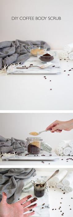 DIY Coffee Body Scrub - ein Peeling aus Zutaten die man sowieso in der Küche hat, Kaffeepulver, braunem Zucker und Kokosöl. Der Kaffee wirkt anregend und das Kokosöl feuchtigkeitsspendend - lindaloves.de
