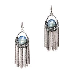"Marina Earrings Love this! Found it on Remarkable Jewelry. You'll step out in style when you are wearing the Marina Earrings. Featuring a faceted chunk of Aquamarine Czech crystal set in darkened silver with delicate chains hanging down, these earrings are the tops in rock 'n roll glam. - Czech crystals, silver metal - 2"" long - French hook  $32"