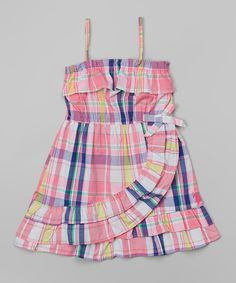 Look at this Pink & Navy Plaid Tiered Dress - Toddler & Girls on #zulily today!