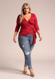 Plus Size Clothing | Plus Size Wrap Jersey Knit Top | Debshops