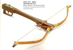 The Crossbow was a mechanical bow which used a hook and crank mechanism to pull back the string to fire a bolt, know as a windlass type. It was generally made of yew ash, hazel or elm with iron or steel moving parts for the mechanism. Egyptian Weapons, Chinese Weapons, Ancient China, Ancient Egypt, Tibet, Spear Thrower, Kinetic Toys, The Han Dynasty, Bow Arrows