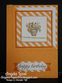 Sneak Peek of Peekaboo Peach, one of Stampin' Up!'s new 2016-18 In-Colors from the SU 2016-17 annual catalogue available 1 June. Also features the Sitting Here stamp set and corner fold card style. More details on my blog. #OnStage2016, #angelaspaperarts, #cornerfold