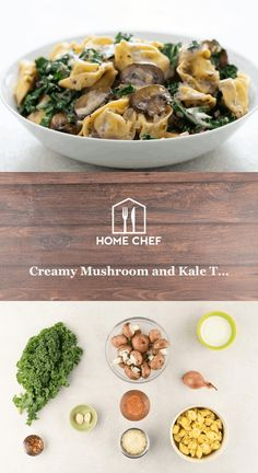 Creamy Mushroom and Kale Tortellini with Parmesan cheese and red pepper flakes Creamy Mushrooms, Stuffed Mushrooms, Stuffed Peppers, Hello Fresh Recipes, Recipe Steps, Home Chef, Italian Dishes, Tortellini, Food Allergies