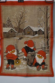 Vintage  Swedish Jute Sack with Santa