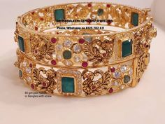 Latest collection of stone bangle. Presenting here 66 gm pair Nakshi work Czs bangles and 65 gm pair of Uncut Diamonds Bangle with screw system. Visit for best designs. Contact no 8125 782 24 March 2019 Ruby Bangles, Silver Bracelets, Bangle Bracelets, Bridal Bangles, Gold Necklaces, Bridal Jewellery, Wedding Jewelry, Gold Bangles Design, Gold Jewellery Design