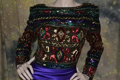 vtg 80s HEAVILY SEQUINED BEADED evening TROPHY DRESS GOWN M-L amazing quality! #VictoriaRoyalLtd