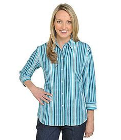 Allison Daley Petites Striped Pucker Shirt #Dillards