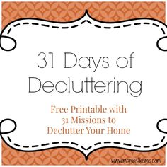 31 Days of Decluttering Challenge - I could do this EVERY month!