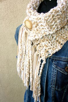 CREAM SODA  COWL  Scarf  with fringe and by BehindMyPicketFence, $39.00