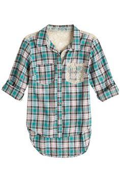 dELiAs > Lace Pocket Plaid Shirt > tops > blouses & shirts