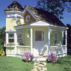 Victorian Playhouse : Luxury Playhouses at PoshTots.Maybe if I win the lotto. These play houses are AMAZING! Pretty much mini real houses! Style Cottage, Cute Cottage, Beach Cottage Decor, Cottage Homes, Yellow Cottage, Romantic Cottage, Fairytale Cottage, Garden Cottage, Backyard Cottage