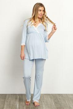 Light Blue Lace Trim Maternity Pajama Set 8b34cfff4