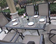 Grand Regent 7pc Swivel Rocking Sling Patio Dining Set