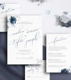 Navy Blue Wedding Invitation Suite with Cream & Gold Florals Details Card RSVP Card Envelope Liner Editable Template Blue Wedding Invitations, Floral Invitation, Invitation Design, Wedding Stationery, Invites, Wedding Invitation Layout, Invitation Kits, Invitation Envelopes, Dusty Blue Weddings