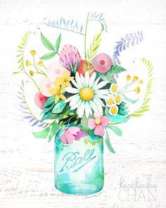 Mason Jar and Flowers Watercolor Art - painting by Heatherlee Chan - Beautiful Mason Jar Art, Mason Jar Crafts, Mason Jar Tattoo, Watercolor Art Paintings, Watercolor Flowers, Watercolours, Copics, Flower Art, Iphone Wallpaper