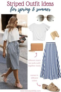 Striped Outfit Ideas // Striped Skirt // Spring Outfit Ideas // Spring Fashion // Summer Fashion // Date Night Outfit | Beauty With Lily #springfashion #summerfashion #dateoutfit