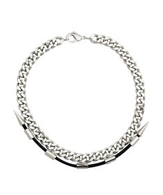 FALLON  future classics short spike necklace | SHOP NOW > http://www.threadbare.co/collections/designers-sale/products/future-classics-short-spike-necklace #fallon #necklace #leather #silver #statement