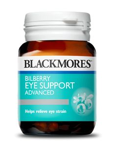 Blackmores Bilberry Eye Support Advanced formula with antioxidants to reduce free radical damage, and support healthy blood circulation. Protein Supplements, Natural Supplements, Weight Loss Supplements, Healthy Snacks, Healthy Recipes, Eye Strain, Herbalism, Vitamins, Herbs
