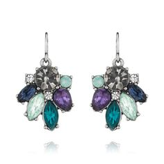 50% starting at 9 AM PDT: Midnight Reverie Drop Earrings  Cool-hued crystal clusters, arranged in frost-like patterns
