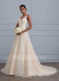 [US$ 204.49] Ball-Gown V-neck Court Train Tulle Wedding Dress (002121429)