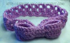 Headband with bow (crochet pattern listed)