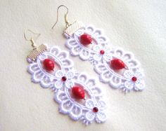 Lace earrings  lace earrings with red coral by MalinaCapricciosa, $18.00