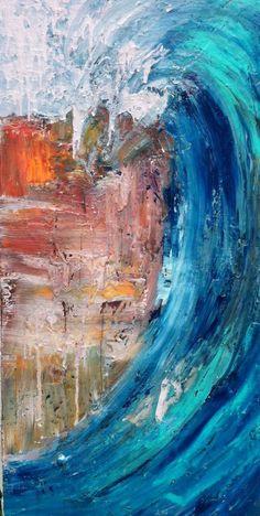 """Curl""- a wave painting by Adam Brett by loracia Painting Inspiration, Art Inspo, Wave Art, Surf Art, Ocean Art, Art Music, Oeuvre D'art, Les Oeuvres, Cool Art"