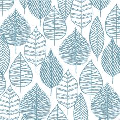 Line Leaf | Blue :: Bark & Branch by Eloise Renouf for Cloud9 Fabrics