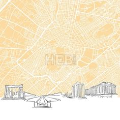 Athens Greece Skyline Map