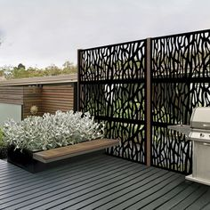 80 Awesome Modern Garden Fence Design For Summer Ideas Privacy Screen Outdoor, Backyard Privacy, Privacy Fence Panels, Patio Fence, Outdoor Balcony, Rooftop Deck, Roof Panels, Pergola Patio, Pergola Kits
