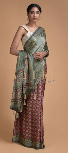 Buy Online from the link below. We ship worldwide (Free Shipping over US$100)  Click Anywhere to Tag Olive Green Half And Half Saree In Satin Blend With Printed Floral Buttis And Jaal Pattern Online - Kalki Fashion Olive green half and half saree in satin blend with printed floral buttis on the pallu.The pleats enhanced with multi colored floral jaal