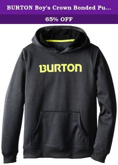 BURTON Boy's Crown Bonded Pullover Hoodie, Small, True Black Heather. Getting After It In Your Regular Ol' Hoodie Seems Like An Awesome Idea, Until It Gets Wet, Stays Wet, And Chills You To The Bone. The Iconic Boys' Burton Crown Bonded Pullover Hoodie, With Its Dry ride There Bonded Fleece Is Awesome All Day Long. Highly Breathable, Quick-Drying, And Warm, This Best-Sweatshirt-Ever Joins A Shell Fabric To A Plush Fleece Backing For Tech Weather Resistance And Comfort. Riding, Hiking, Or...