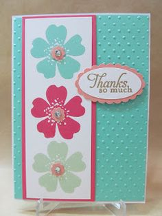 Savvy Handmade Cards: Stampin Up! 2013-2015 In Color Card ... like the light and bright look of these colors together ...