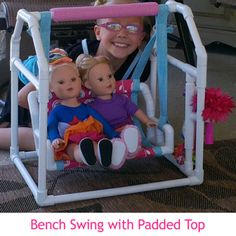 "Free-standing swing that seats two 18"" dolls (Swing Time pattern #1003AP). Easy DIY using PVC pipe."